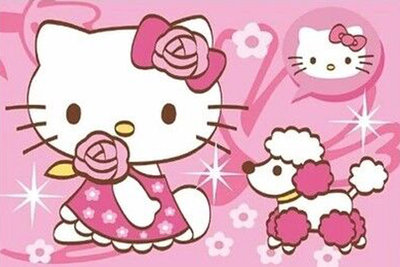 Diamond Painting pakket - Hello Kitty met hondje 30x20 cm (full)