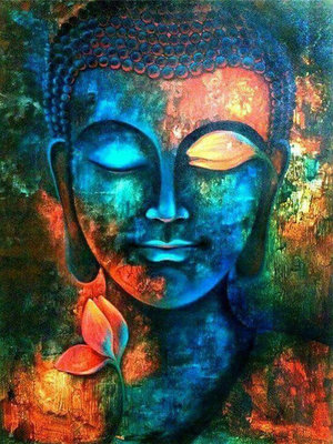 Diamond Painting pakket -  Buddha gezicht met allerlei kleuren 45x60 cm (full)