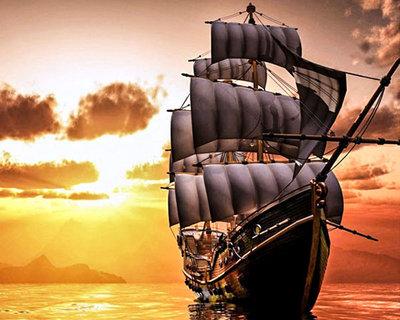 Diamond Painting pakket -  Zeilschip op een rustige zee 50x40 cm (full)
