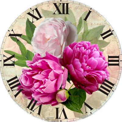 Diamond Painting pakket - Klok met roze pioenrozen 50x50 cm (full)