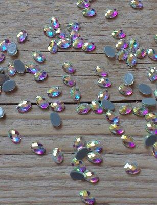 Bolle ovaal 6 mm Crystal AB Hotfix Rhinestones Superior kwaliteit