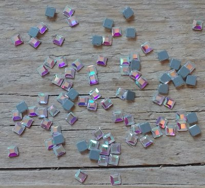 Vierkantje 3 mm Crystal AB Hotfix Rhinestones Superior kwaliteit