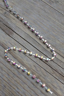 Strassketting 4 mm Crystal AB - Silver Cup