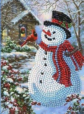 Diamond Painting Kerstkaart - Sneeuwpop met vogeltje (Partial nr. 8)