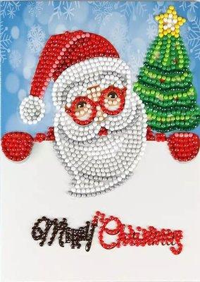 Diamond Painting Kerstkaart - Kerstman met kerstboom - Merry Christmas! (Partial nr. 4)