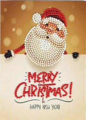 Diamond Painting Kerstkaart - Kerstman - Merry Christmas! (Partial nr. 3)