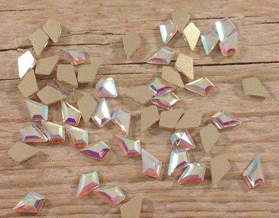 Hoekige Druppel 6 mm Crystal AB Non hotfix Rhinestones figuren Superior Glamour kwaliteit