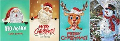 Diamond Painting Kerstkaarten - Set van 4 stuks (Partial) - Set Diverse D