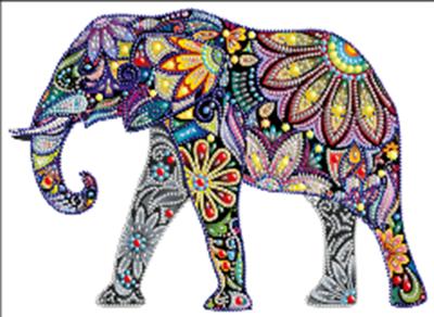 Diamond Painting pakket - Kleurrijke olifant met speciale vormstenen 40x30 cm (Special)