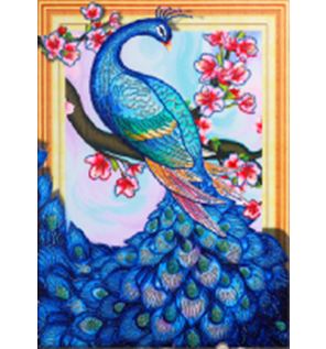 Diamond Painting pakket - Sierlijke blauwe pauw met speciale vormstenen 40x50 cm (Special)