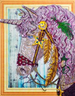 Diamond Painting pakket - Paarse Eenhoorn met speciale vormstenen 40x50 cm (Special)