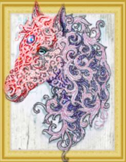 Diamond Painting pakket - Magisch Paard met speciale vormstenen 40x50 cm (Special)