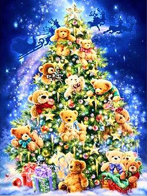 Diamond Painting pakket - Versierde kerstboom met beren 40x55 cm (full)