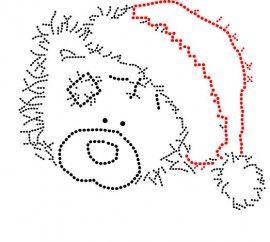 Hotfix Patroon Knuffelbeer met kerstmuts