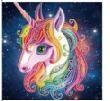 Diamond Painting pakket - Regenboog Eenhoorn met speciale vormstenen 25x25 cm (Special)