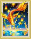 Diamond Painting pakket - Goudvissen met speciale vormstenen 40x50 cm (Special)