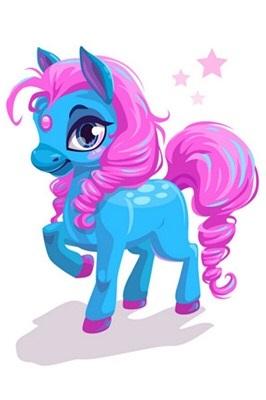 Diamond Painting op schildersezeltje - Blauwe pony met roze manen 10x15 cm (Partial)
