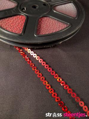 Strijkbare Pailletten per rol kleur rood