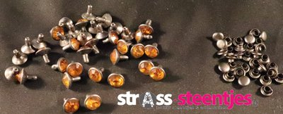 Studs met Strass Topaz 8 mm