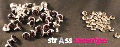 Studs met Strass Smoked Topaz 8 mm
