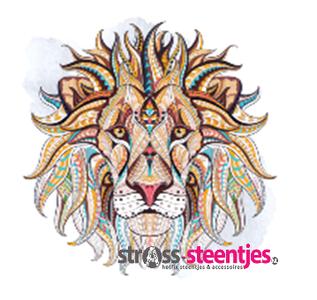 Diamond Painting pakket - Bijzondere leeuwenkop met speciale vormstenen 50x50 cm (Special)