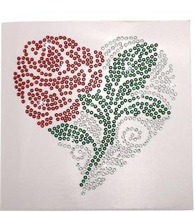 Diamond Painting Ansichtkaart - Rode Roos in Tribal Hart (Partial met ronde steentjes)