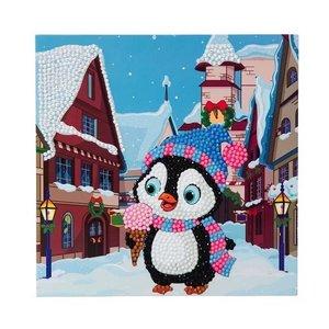 Diamond Painting Kerstkaart - Pinguin met ijsje (Partial met ronde steentjes)