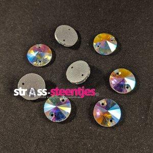 Naaistenen Rond Kleur Crystal AB 14mm (platte achterkant)