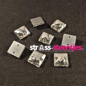 Naaistenen Vierkant Kleur Crystal 10mm (platte achterkant)