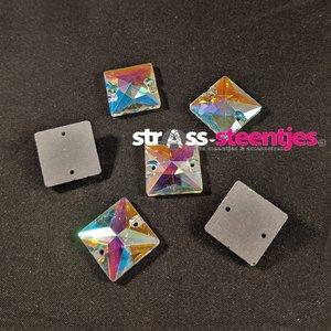 Naaistenen Vierkant Kleur Crystal AB 14mm (platte achterkant)