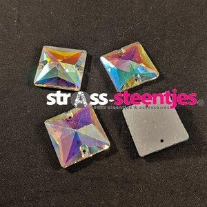 Naaistenen Vierkant Kleur Crystal AB 22mm (platte achterkant)