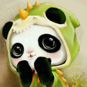 Diamond Painting pakket - Pandabeertje met groen drakenvest 20x20 cm (Full)