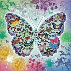Diamond Painting pakket - Vlinder met allemaal vlindertjes op de vleugels 50x50 cm (Full)
