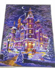 Diamond Painting met LED-verlichting - Verlicht herenhuis in de winter 30x40 cm (full)
