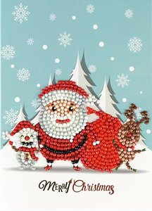 Diamond Painting Kerstkaart - Kerstman met rendier en hondje in de sneeuw (Partial nr. 5)