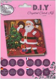 Diamond Painting Kerstkaart - Kerstman met kerstboom (Partial met ronde steentjes)