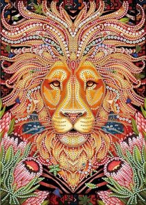 Diamond Painting pakket - Bijzondere leeuwenkop in oranjetinten met speciale vormstenen 23,5 x 33,5 cm (Special)