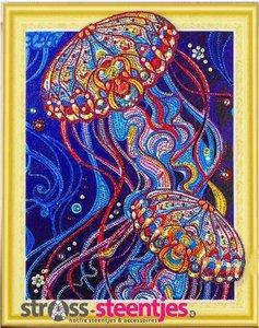 Diamond Painting pakket - Kleurrijke Kwallen met speciale vormstenen 40x50 cm (Special)