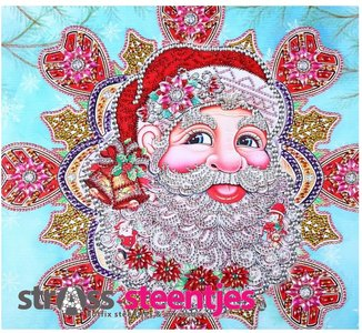 Diamond Painting pakket - Portret van de Kerstman met speciale vormstenen 40x40 cm (Special)