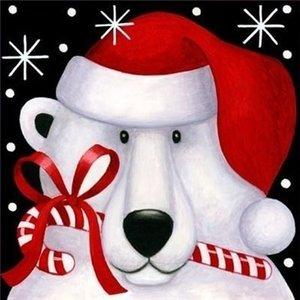 Diamond Painting pakket - Witte kersthond met muts en zuurstok 40x40 cm (Full)