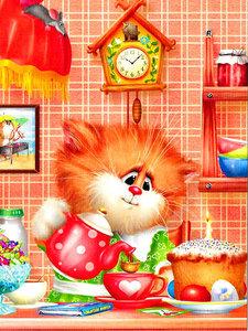 Diamond Painting pakket - Cartoon kat in de keuken 30x40 cm
