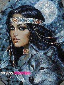 Indiaan met wolf 30x40