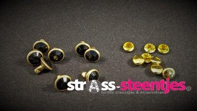 Studs met Strass Jet 8 mm (glas) met goudkleurige cup