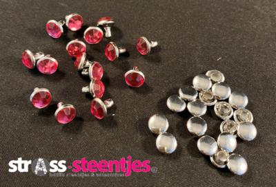 Studs met Strass (Acryl) - Rose 6 mm