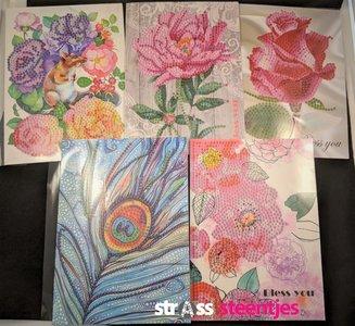 Diamond Painting Ansichtkaarten - Set van 5 stuks (Partial) o.a. pauwenveer