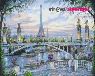 Eiffeltoren achter de Seine met brug 30x40 cm