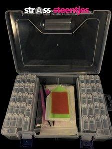 Diamond Painting opbergdoos / sorteerkoffertje met 42 fliptop doosjes plus benodigdheden