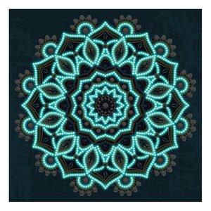 Diamond Painting pakket - Mandala op blauwe achtergrond - Glow in the Dark 30x30 cm (Partial) in het donker