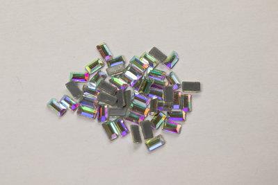 Dikke rechthoek 2x5 mm Crystal AB Hotfix Rhinestones Superior kwaliteit