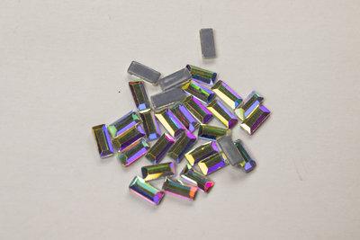 Dikke rechthoek 3x7 mm Crystal AB Hotfix Rhinestones Superior kwaliteit